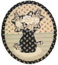 Flowers in Black Vase: Quilted Art Wall Hanging - $340.00