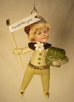 Vintage Inspired Spun Cotton Christmas Boy Ornament #10 Very Cute!5
