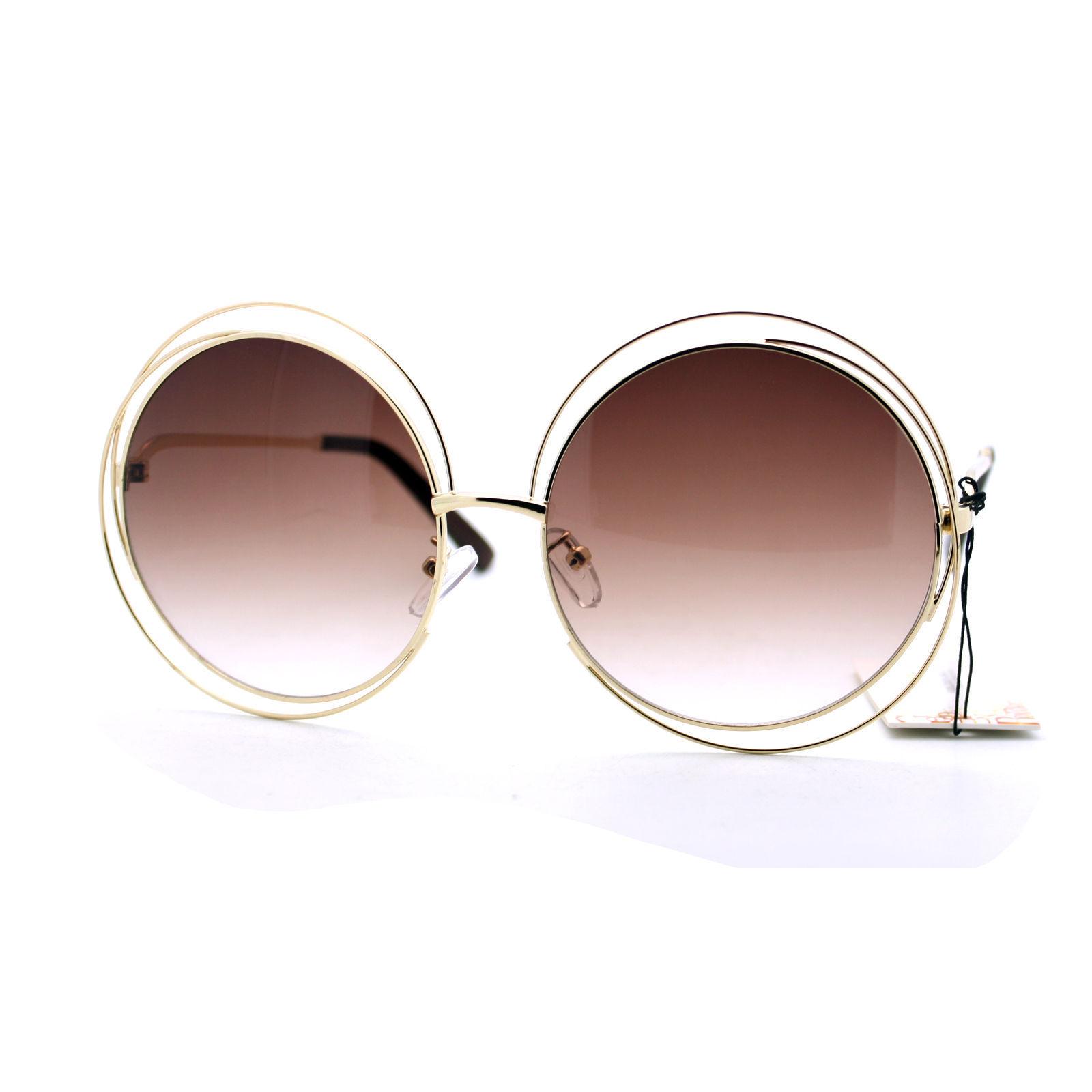 Womens Super Oversized Designer Sunglasses Round Circle Wire Metal Frame