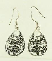 Vintage Sterling Marcasite  Filigree Pear TearDrop Dangle Drop Earrings ... - $38.69