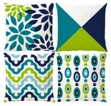 Decorative Green Blue Abstract Throw Pillow Covers Outdoor Cushion Cover... - £17.34 GBP