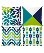 Decorative Green Blue Abstract Throw Pillow Covers Outdoor Cushion Cover... - £17.19 GBP