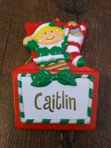 Stravina Elf Santa's Helper Caitlin Package Tag Personalized Hanging Orn... - $29.35