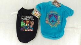 2 Marvel Sm Pet Shirts Black Tank Top Block Guardians Galaxy Color Logo ... - $21.32