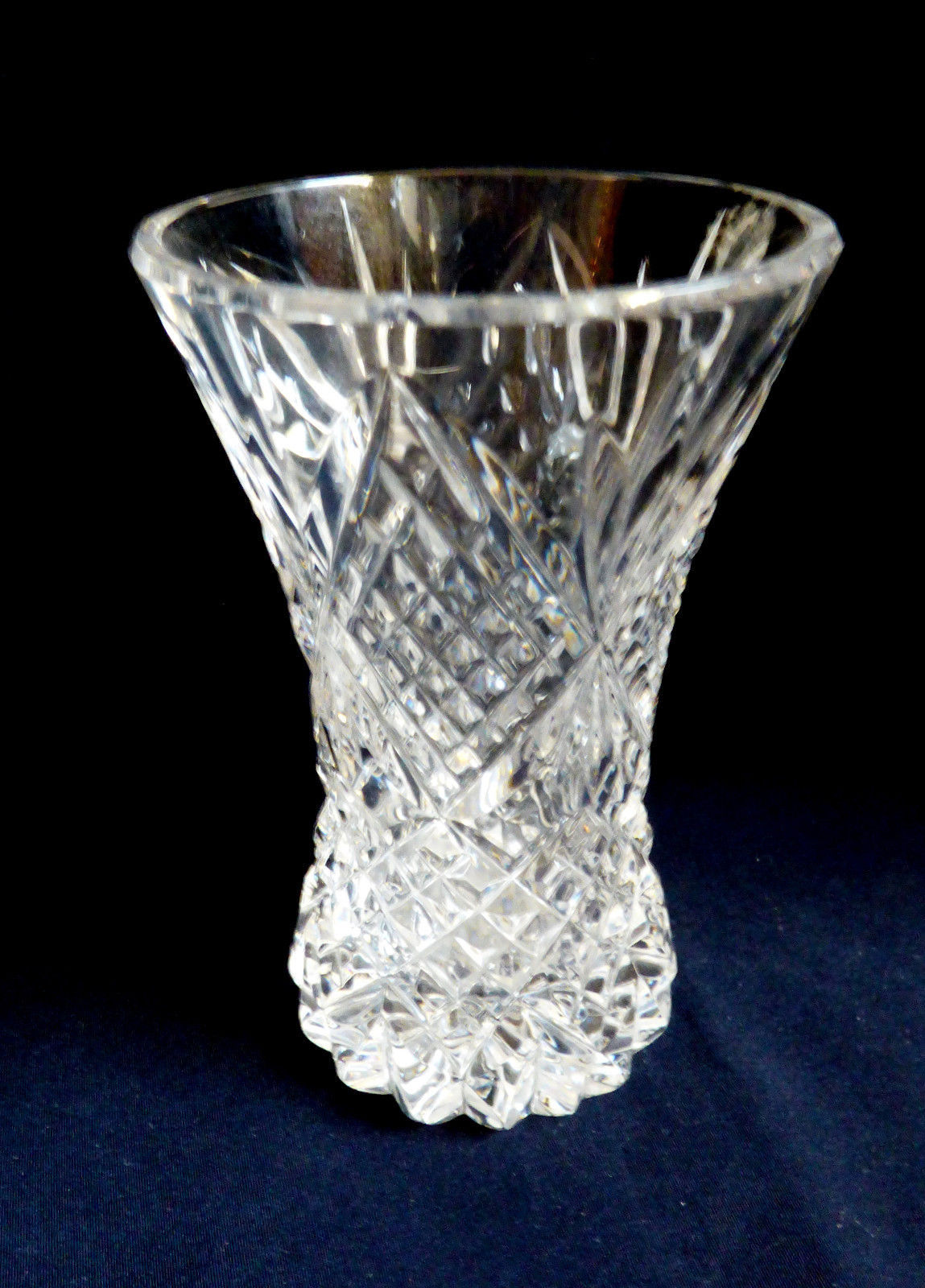 Primary image for Vintage cut Clear Crystal small bud vase diamond pattern design 4""