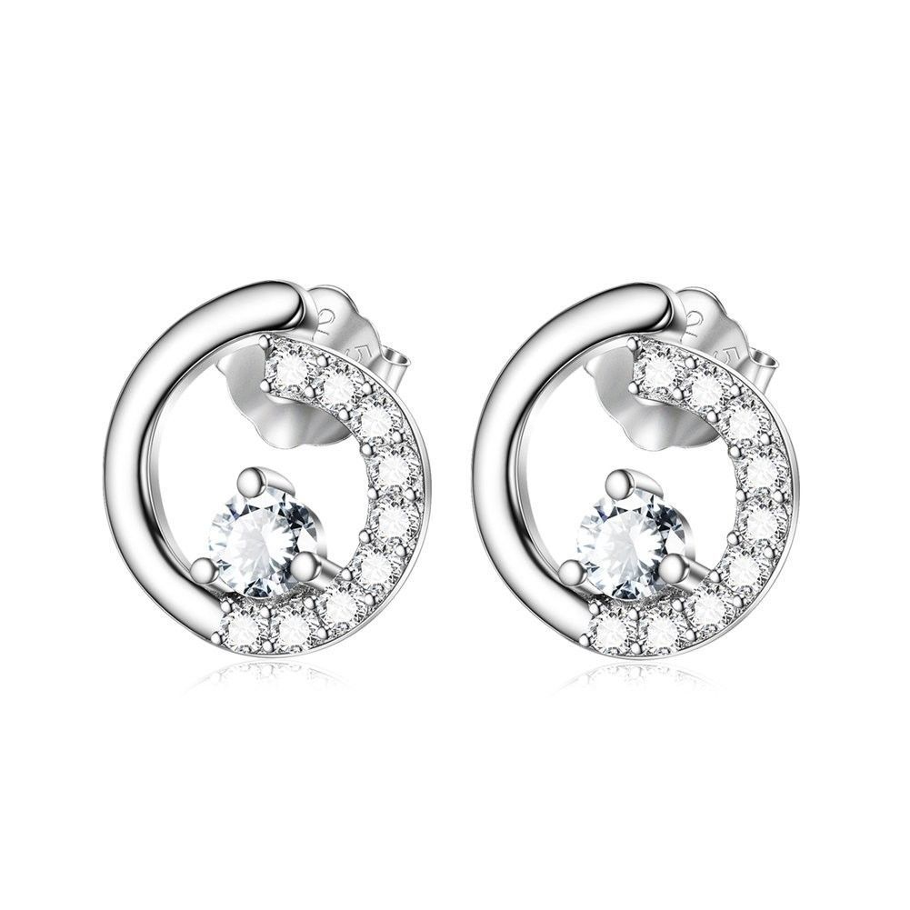 Primary image for Sterling Silver Tiny Open Circle Stud Earrings w/ Zircon Paved White Gold Plated