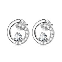 Sterling Silver Tiny Open Circle Stud Earrings w/ Zircon Paved White Gol... - $52.96