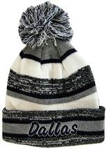 Dallas Adult Size Tri-Color Winter Knit Pom Beanie Hats (Gray/Navy Script) - $12.95