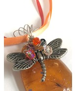 Wire wrapped butterfly charm on orange art glass wire wrapped in sparkli... - $14.00