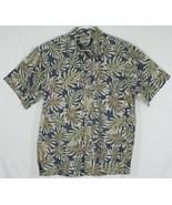 Cooke Street Mens Large Hawaiian Shirt Reverse Print Navy Blue Beige Pal... - $14.96