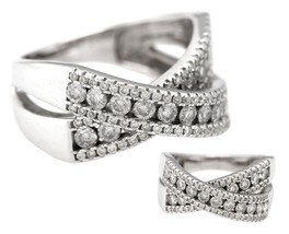 "Exquisite Ladies 14K White Gold 1.76ctw Diamond Crossover ""X"" Cocktail Ring - $1,595.51"