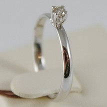 18K WHITE GOLD SOLITAIRE WEDDING BAND CASTLE RING DIAMOND 0.07 MADE IN ITALY image 2