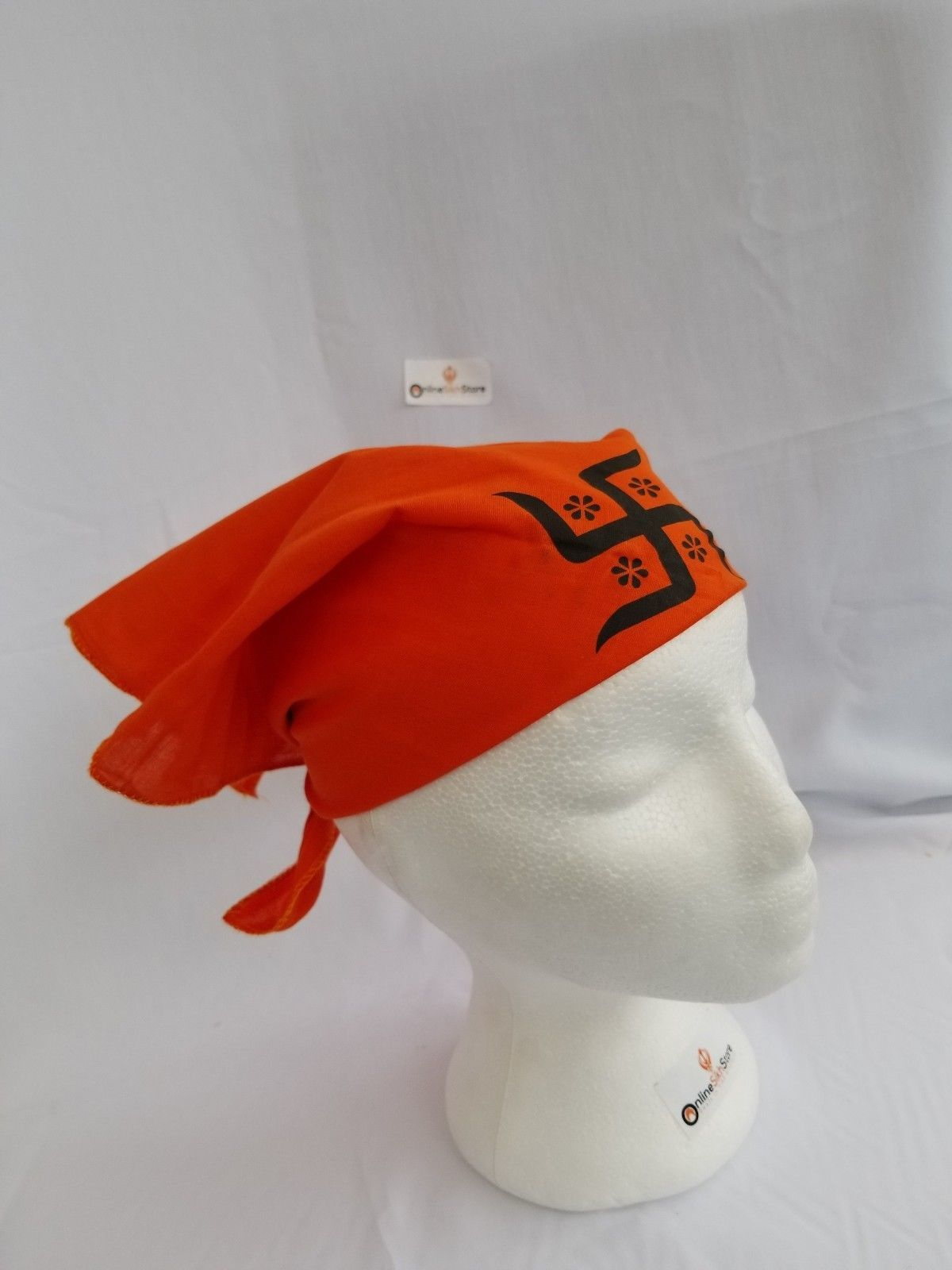 Sikh Hindu India ORANGE SWASTIKA bandana Head Wrap Gear Rumal Handkerchief GIfT