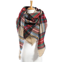 "Top quality Winter Scarf Plaid Scarf Designer Unisex Acrylic Basic Shawls Women"" image 3"