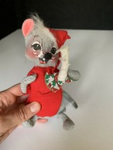 Annalee 1967 doll nightshirt mouse candle holding christmas plush vintage - $19.79