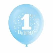 "1st Birthday Blue Boy 8 pk 12"" Balloons Stars Printed - $3.95"