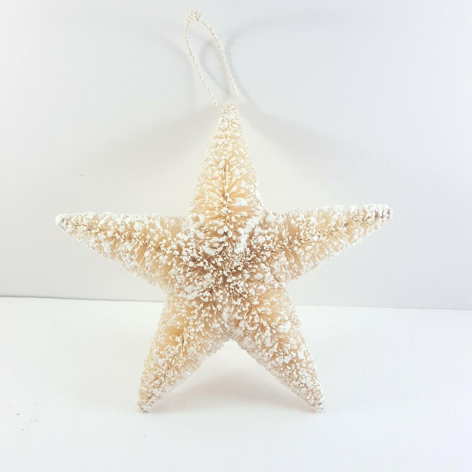 """Sisal Starfish Christmas Ornament 5.5"""" Bottlebrush Nautical Tropical Christmas"""