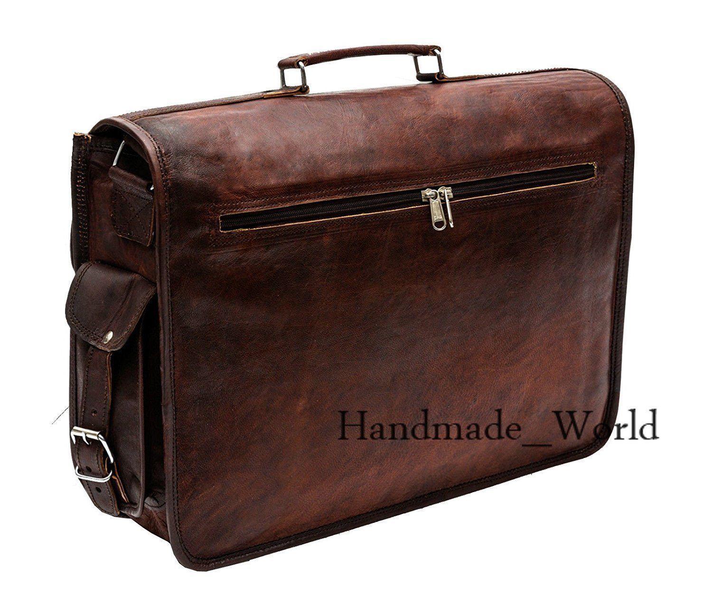 Goat Brown Genuine Leather Laptop Shoulder Briefcase Handbag