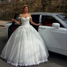 Elegant Ball Gown Wedding Dresses  Off The Shoulder Appliques Lace Floor Length