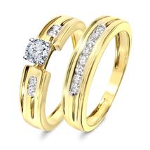 14K Gold Fn. 925 Silver Round Cut White Cz Engagement Wedding Bridal Ring Set - $95.99