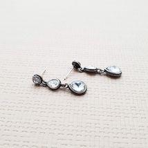 Tiered Round Water Drop Teardrop Shape Made With Swarovski Stone Dangle Earrings image 6