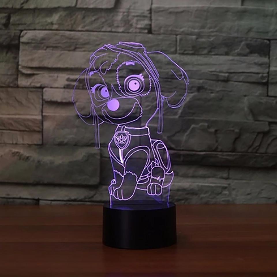 3d led vision cute robot dog desk lamp 7 color change cartoon modelling touch light fixture 0