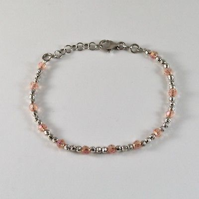 BRACELET 925 SILVER RHODIUM WITH BEADS FACETED AND ZIRCONIA CUBIC
