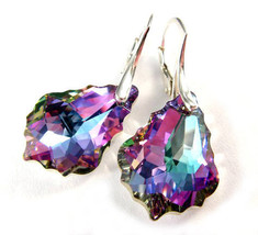Silver Swarovski Earrings Baroque Crystal Vitrail Light - $19.00