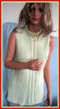 M PARISIAN SIGNATURE Knit Soft Spring Summer Green Sleeveless Tunic Pull... - $14.99