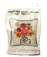 American Family Crafts Crewel Embroidery Pillow Kit Bright Bouquet NEW - $14.84