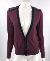 Ann Taylor Loft Cardigan Sweater Medium Purple Black Sequin Embellished ... - $15.64