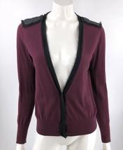 Ann Taylor Loft Cardigan Sweater Medium Purple Black Sequin Embellished Shoulder - $15.64