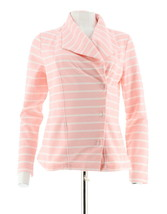 Isaac Mizrahi à Rayures Molleton Tricot Veste Moto Rose Glace S NEUF A286327 - $65.27