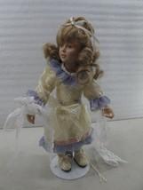 "VINTAGE PORCELIAN  1989 MBI Porcelain Doll Blond Curly Hair 12"" TALL   415 - $12.10"