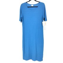 Lularoe Womens Size XL Julia Midi Dress Ribbed Solid Blue Knit NEW Short... - $32.71