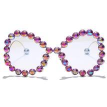 Vintage Women Pearl Glasses Frame  Luxury Wave legs Cateye Sunglasses Fashion Ra image 12
