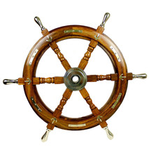 Halloween Ship Wheel 24 Inches Anchor & Strips With Brass Handles Wall D... - $93.56