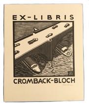 Ex Libris Exlibris Bookplate Signed Autographed Ernest Huber Cromback Bl... - $49.49