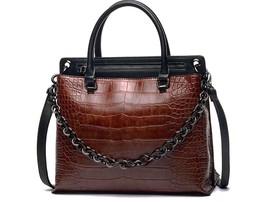 Women Fashion Handbag Leopard Zipper Elegant Natural Brown Black Autumn ... - $59.99