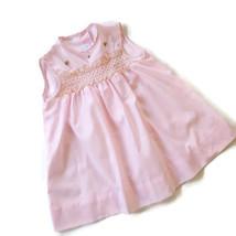 Vintage Kate Greenaway Dress Pink Smocked 3 T Frock Toddler Sleeveless  - $28.66