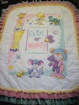 "Hand Quilted XStitched ""CUTE OR WHAT?""  Baby Quilt Crib Blanket add baby... - $169.99"