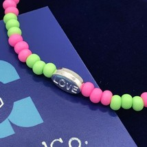 LOVE Beaded Stretch Bracelet Pink & Green Handmade in the USA -NEW -Ob - $14.99