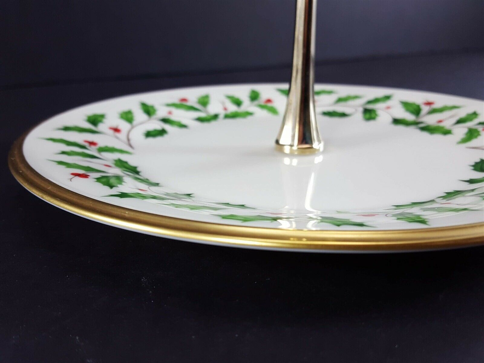 """LENOX China Holiday Dimension Round Tidbit Plate with Handle 8-1/4"""" Dinnerware image 5"""