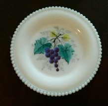 Westmoreland Milk Glass Beaded Edge Fruit Bread & Butter Plate 6 Inch Grapes - $23.42