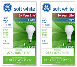2x General Electric 30/70/100w 3 Way Long Life Incandescent Light Bulb White NEW image 1