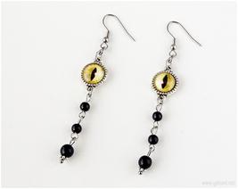 Cat Eye Earrings, Black, Yellow, Gothic Jewelry, 90s, Goth, Handmade Jewelry - $17.00