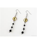 Cat Eye Earrings, Black, Yellow, Gothic Jewelry, 90s, Goth, Handmade Jew... - $17.00