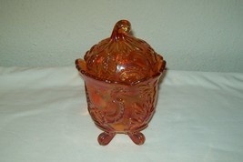 IMPERIAL GLASS MARIGOLD CARNIVAL COVERED ''LOUIS JAR'' FOOTED - $40.46