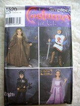 Simplicity Kids Renaissance Costume Patterns Queen Princess Knight Size ... - $13.85