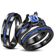 Princess Cut Sapphire Engagement Ring And His Her Band Trio Ring Set 925... - $142.75